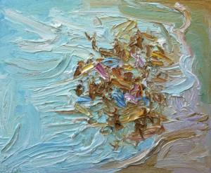 Chaotic Crowd-Plein air-Oil on canvas-50cm x 60cm-David K Wiggs
