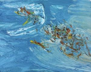 Colourful crowd-Plein air-Oil on oil paper-20cm x 25cm-David K Wiggs