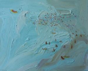 Cool crowd-Plein air-Oil on oil paper-75cm x 85cm framed-David K Wiggs-2017