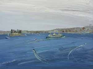 Fishermen leaving Taylors bay-Plein air-Oil on canvas-90cm x 120cm-David K Wiggs