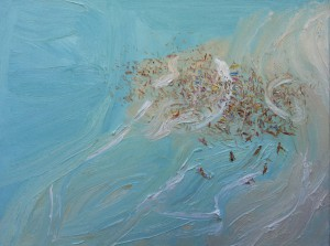 Freshwater crowd-Plein air-Oil on canvas-90cm x 120cm-David K Wiggs-2016