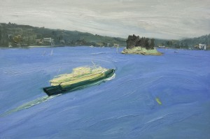 Green kayak-Manly Ferry-Plein air-Oil on canvas-100cm x 150cm-David K Wiggs
