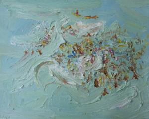 Holiday crowd-Freshwater-Plein air-Oil on oil paper-75cm x 85cm framed-David K Wiggs