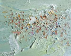 Hot day beautiful crowd-Plein air-Oil on oil paper-45cm x 50cm framed-David K Wiggs-2017