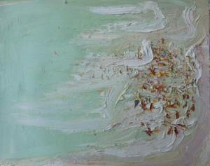 Hot day crowd-Plein air-Oil on oil paper--75cm x 85cm framed-David K Wiggs-2016