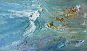 Jet ski lifesaver-Plein air-Oil on oil paper-60cm x 85cm framed-David K Wiggs 2016
