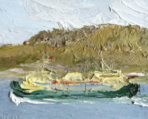 Manly ferry-Passing Dobroyd-Plein air-Oil on oil paper-45cm x 50cm framed-David K Wiggs-2016