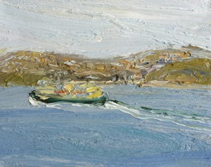 Manly ferry-Passing Grotto-Plein air-Oil on oil paper-45cm x50cm framed-David K Wiggs-2016
