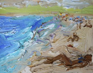 On the beach-Dee Why-Plein air-Oil on oil paper-45cm x 55cm 55 Framed-David K Wiggs