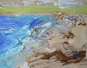 On the beach-Dee Why-Plein air-Oil on oil paper-45cm x 55cm 55 Framed-David K Wiggs