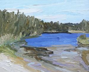 Queenscliff Lagoon-Oil on canvas-50cm x 60cm-David K Wiggs