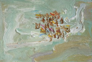 Saturday surf-Oil on oil paper-45cm x 50cm framed-David K Wiggs