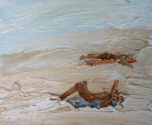 Sunbaking-Dee Why-Plein air-Oil on canvas-25cm x 30cm-David K Wiggs