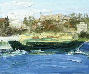 The Arrival-Manly Ferry-Plein air-Oil on canvas-50cm x 60cm-David K Wiggs-2016