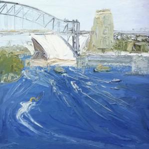 Through the bridge-Plein air-Oil on canvas-76cm x 76cm-David K Wiggs