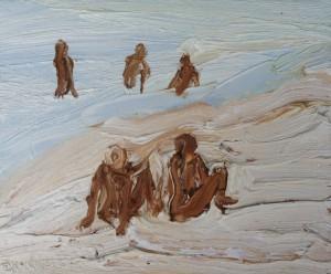 Watching the guys-Plein air-Oil on canvas-25cm x 30cm-David K Wiggs