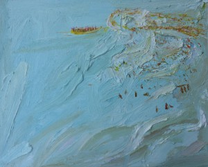Weird yellow inflatable boat crowd-Plein air-Oil on oil paper-David K Wiggs-2017