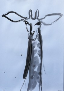Zoo drawings-Giraffe-Ink,brush and bamboo-100cm x 70cm-David K Wiggs