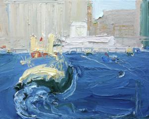 Charlotte leaves Jeffrey for The Quay-Plein air-Oil on canvas-61cm x 76cm-David K Wiggs-2017
