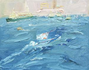 Salvage boat and The Quay in a Southerly-Plein air-Oil on canvas-61cm x 76cm-David K Wiggs 2018