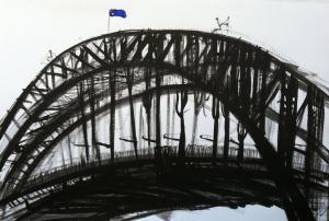 22Blue flag and yellow lights-The Bridge-Plein air22-76cm x 100cm-David K Wiggs 2017