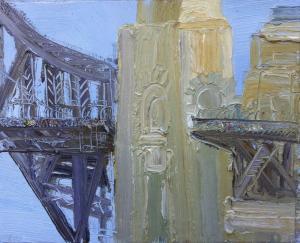 22Crossing The Bridge-Plein air22-75cm x 85cm Framed-David K Wiggs