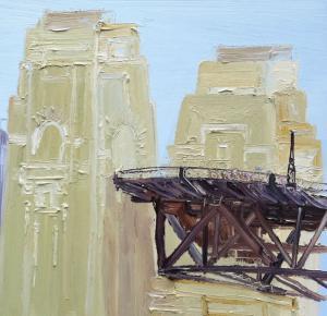 Colourful crowd crossing The Bridge-Plein air- oil on canvas-90cm x 90cm-David K Wiggs-2016