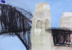 Compressed charcoal and guache bridge-Plein air-Compressed charcoal and guache on paper-76cm x 100cm-David K Wiggs 2018