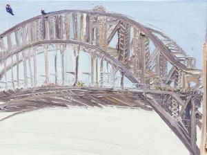 Pink cyclists-The Bridge-Plein air-Oil on canvas-76cm x 100cm-David K Wiggs