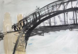 The Bridge-People in the middle-Triptych (1st)-Plein air-Ink,charcoal and acrylic on paper-85cm x 110cm-David K Wiggs 2017