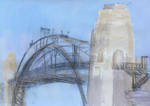 The Bridge-Plein air-Guache and charcoal on paper-76cm x 100cm-David K Wiggs