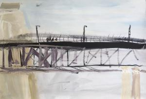 The Bridge-Watching the helicopter-Plein air-Triptych (3rd)-Ink,charcoal and acrylic on paper-85cm x 110cm-David K Wiggs 2017