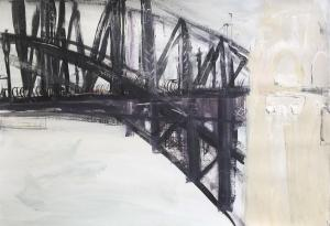 The Bridge=Plein air-Triptych (2nd)-Ink,acrylic and charcoal on paper-76cm x 100cm-David K Wiggs