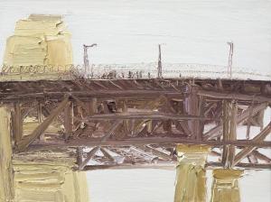 The pink jogger-The Bridge-Plein air-Oil on canvas-76cm x 100cm-David K Wiggs-2017