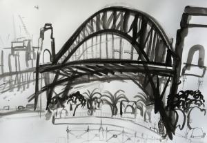 Under The Bridge-Plein air-Ink,brush and bamboo on paper-75cm x 100cm-David K Wiggs