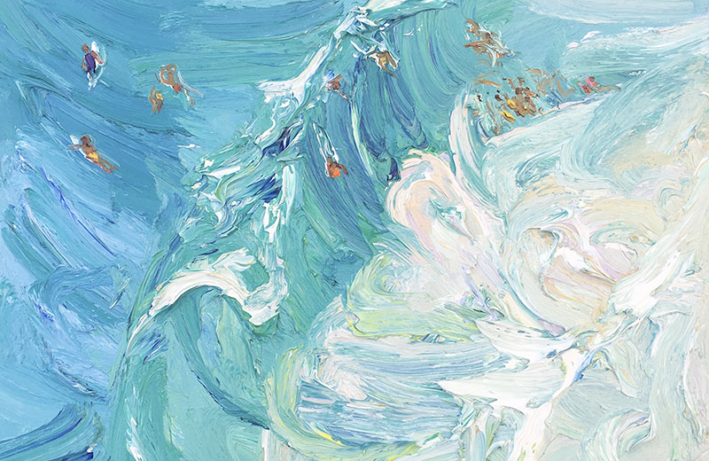 Big-swell March-Freshwater-Plein-air-Oil-on-oil-paper-75cm-x-85cm-framed-David-K-Wiggs-2018