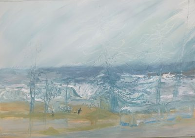 Angry Palmy-East Coast Low-Plein air-Gouache and ink on paper-76cm x 100cm-David K Wiggs 2020