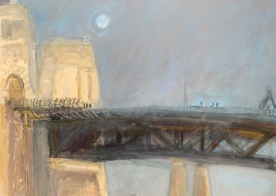 Bushfire Bridge-Plein air-Gouache,charcoal and ink on paper-102cm x 140cm-David K Wiggs 2019