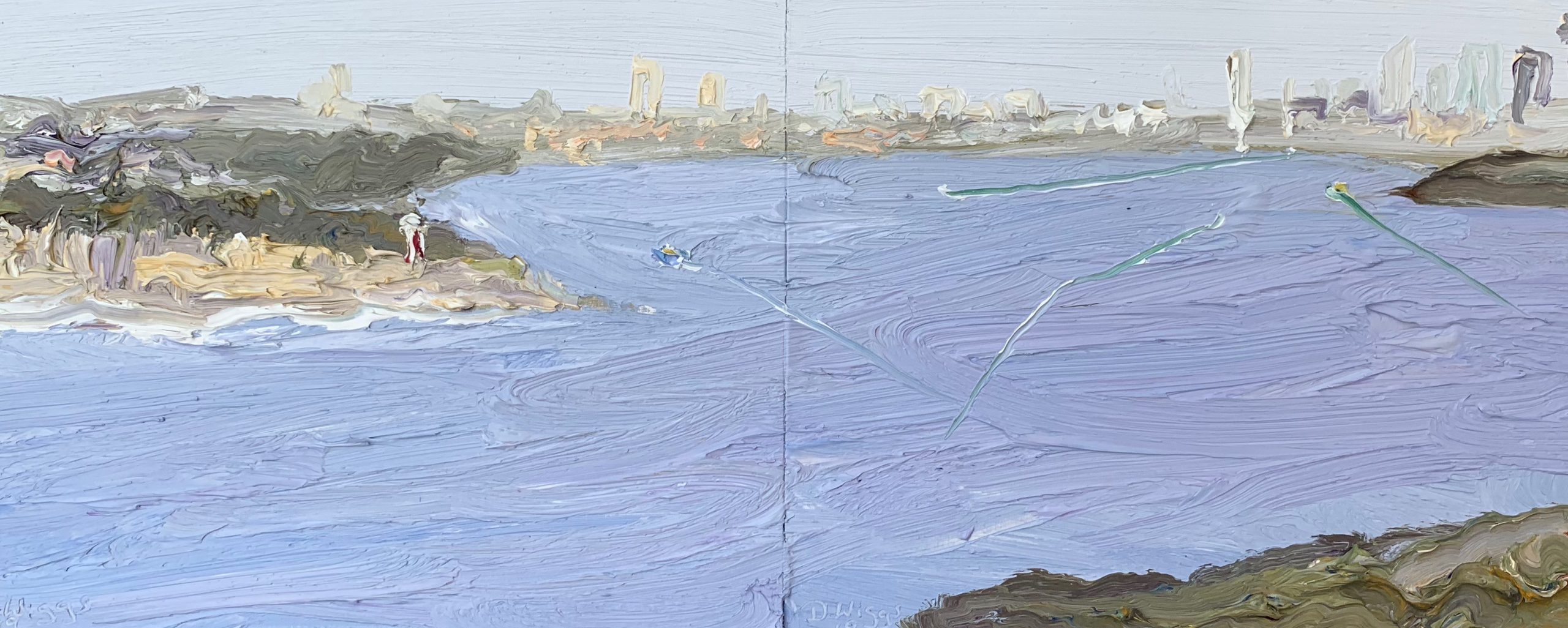 Grey Harbour-Plein air-Diptych-Oil on oil paper-50cm x 80cm framed-David K Wiggs 2019