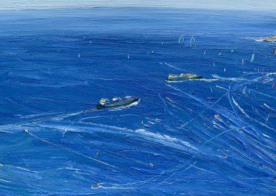 January 26-The Passing of The Ferries-Plein air-Oil on oil paper-79cm x 132cm unframed-100cm x 150cm framed-David K Wiggs 2021