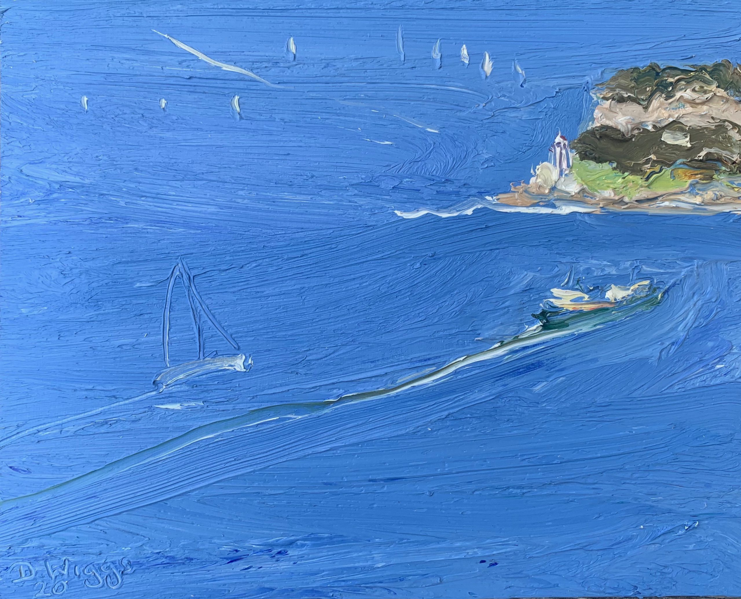 Manly ferry-Big yacht and South head-Plein air-Oil on oil paper-50cm x 55cm framed-David K Wiggs 2020