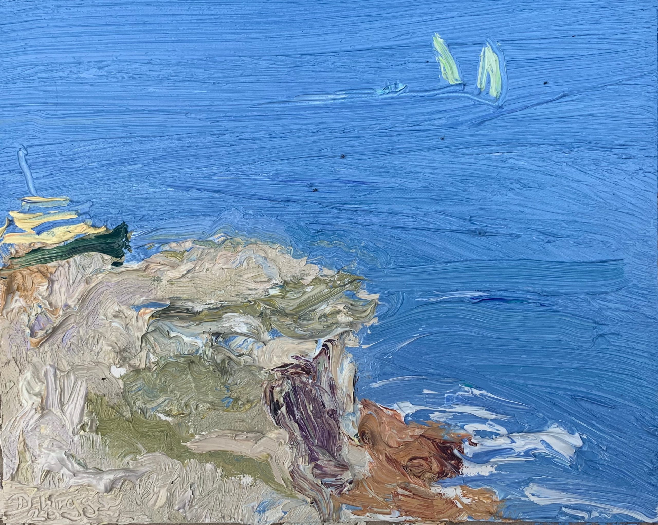 Manly ferry and sailing school past Dobroyd-Plein air-Oil on oil paper-50cm x 55cm framed-David K Wiggs 2020