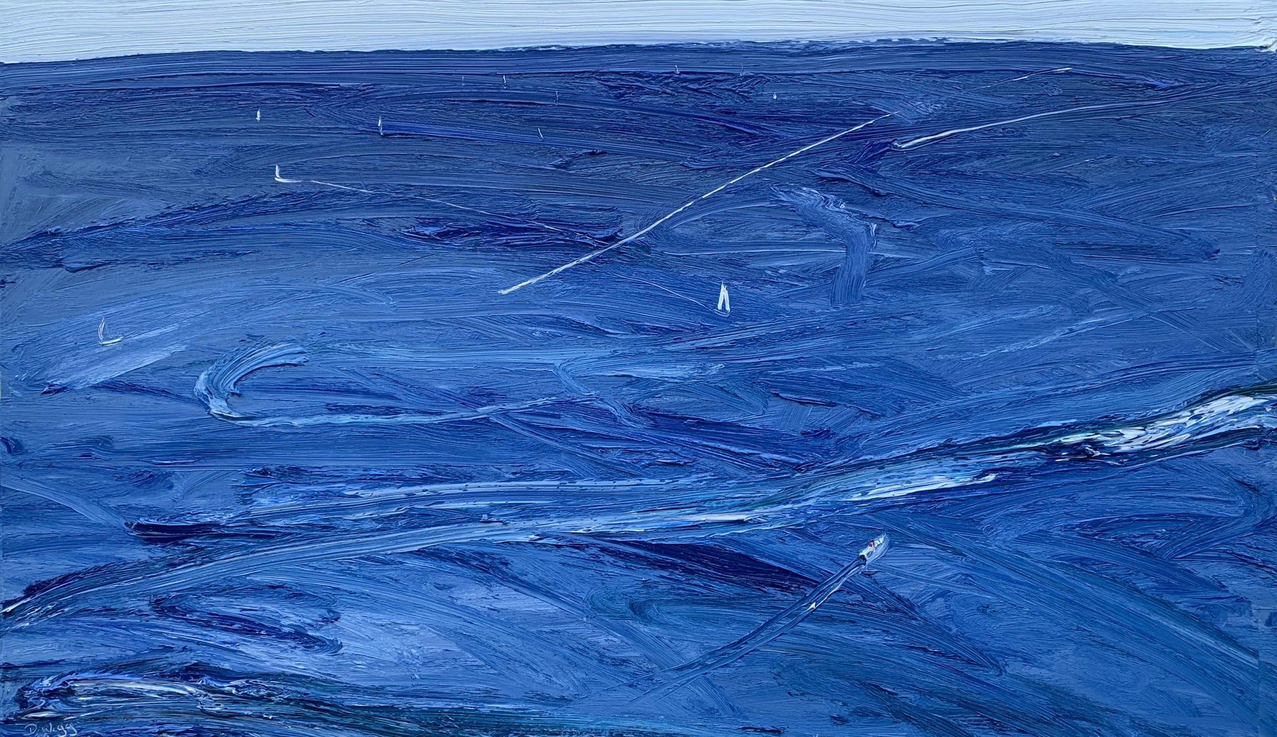 South Easterly Between The Heads-Aquatic Memory-Plein air-Oil on oil paper-79cm x 132cm unframed 100cm x 150cm framed-David K Wiggs 2020