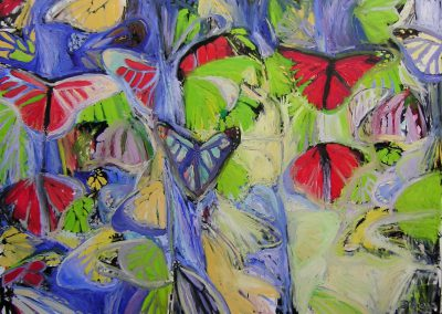 Butterflies 2,130cm by 180cm oil on canvas