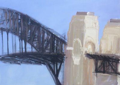 Blue-Sky-Bridge-Plein-air-Gouache-ink-acrylic-and-charcoal-on-paper-112cm-x-150cm-framed-David-K-Wiggs