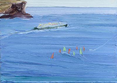 Passing-North-head-and-Balmoral-windsurfing-school-Plein-air-Oil-on-canvas-25cm-x-30cm-David-K-Wiggs-2021