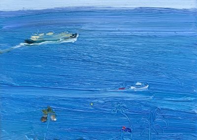 Past-The-Blue-Flag-and-the-Balmoral-swimming-club-Plein-air-Oil-on-canvas-25cm-x-30cm-David-K-Wiggs-2021